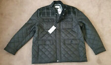 Men's Cole Haan Signature Plaid Wool Mixed Media Quilted Jacket Black Size XXL