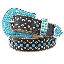 Western Rodeo Cowgirl Belt w Turquoise Stone on the Buckle and Strap Black SM