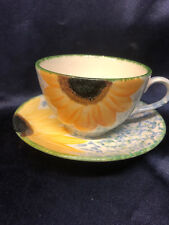 POOLE POTTERY ENGLAND VINCENT CUP & SAUCER 11 OZ SUNFLOWERS BLUE & GREEN SPONGED