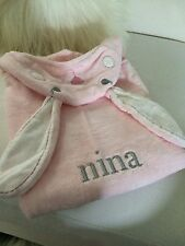 "Pottery Barn Baby Nursery Critter Wrap Pink Bunny Towel Embroidered ""Nina"""