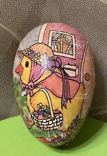 Vintage Nestler Large 3 1/2� paper mache egg Chick w/basket Made in Germany