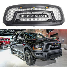 Fit For Black Honeycomb 13-18 Dodge Ram 1500 Grille Bumper Grill Rebel Style