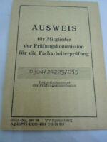 Achtung DDR Ausweis für Mitglieder der Prüfungskommission für die Facharbeiterpr