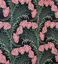 BTY Timeless Treasures ART NOUVEAU Pink Floral Black 100% Cotton Quilting Fabric