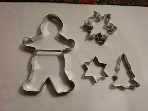 Fox Run Large Gingerbread Man & Christmas Cookie Cutters Assorted Lot of 4