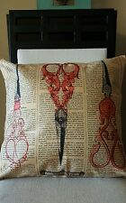 """Vintage Style Sewing Scissors THE POINT Linen Throw Pillow Case Cover 18"""" US SLR"""