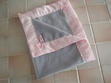 Baby bedding Handmade Lovely PINK Satin with GREY Fleece Baby Blanket