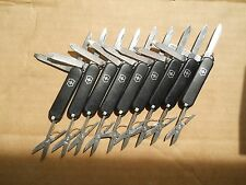 Lot of 9 Classic Victorinox Swiss Army knives in black -No Ads, free red Classic