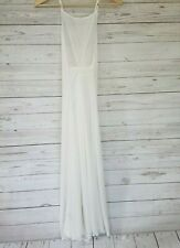 Free People Nightie Semi Sheer XSMALL White Ribbed Long Open Back