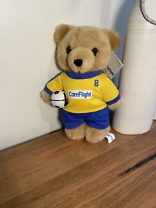 CAREFLIGHT BEAR SOCCER PLAYER WITH BALL BLUE AND YELLOW Teddy Bear