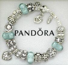 Authentic Pandora Charm Bracelet Heart Blue Silver Love Gift European Charms