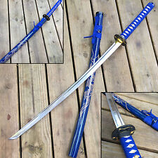 "SAMURAI Ninja Sword 41"" Japanese Machete Steel Blade Katana Wood Scabbard Blue"