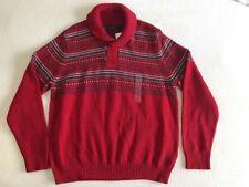 Nautica Men's Shawl Collar Sweater Red Nordic Fair Isle Cotton Pullover L