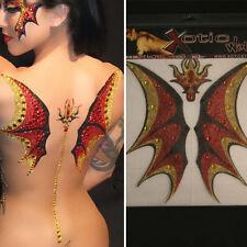 Red Demonic Dragon Wings Glitter Body Makeup Sticker Devil Halloween Costume Set