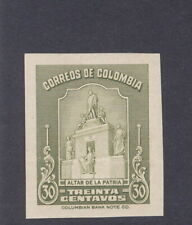 Colombia 1945, 30c Shrine, IMPERF PROOF, from American Banknote archives, #501