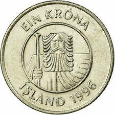 [#707428] Coin, Iceland, Krona, 1996, EF(40-45), Nickel plated steel, KM:27A