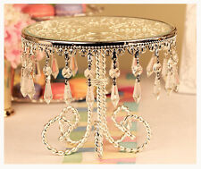 Crystal Bead and Antique Silver Metal Cake Stand Plate Round Wedding Cupcake