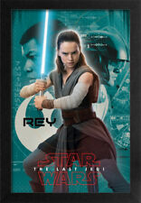 STAR WARS THE LAST JEDI REY TURQUOIS 13x19 FRAMED GELCOAT POSTER EPISODE XIII!!!