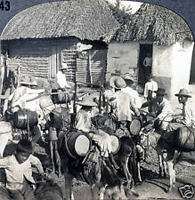 Keystone Stereoview of Water Carriers  & Homes in COLUMBIA from 1930's T400 Set