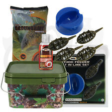NGT Carp Fishing Ground Bait 4 1 Inline Feeder 5l Square Bucket 50ml Liquid