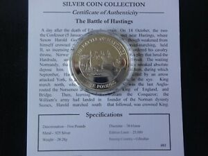 2008 SILVER PROOF GIBRALTAR £5 COIN + COA BATTLE OF HASTINGS HISTORY OF BRITAIN