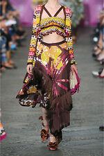 $3.5K Missoni Prisca Ruffled Silk-georgette Multi-colored Skirt Sz IT 42, U.S 6