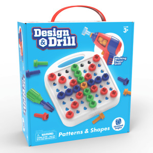 Design & Drill 57 Piece Patterns & Shapes Set with Working Power Drill 50 Bolts