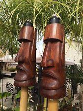 NEW Easter Island Moai Tiki torch set bar mug Smokin Tikis Hawaii 5517f