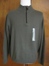 Bloomingdale's  men's army heather cashmere zipper sweater Large NWT