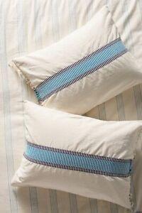 Anthropologie Embroidered Woven Eden Boho Standard Sham Fringe White Blue NEW