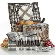 VonShef Luxury 4 Person Traditional Picnic Hamper Wicker Willow Basket & Blanket