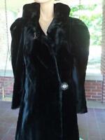 Vintage 40's Faux Fur Coat Silk Fur Fabric H&H Hudson Harrison Bakelite Clasp