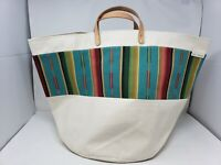 NWT Good Company Wares Natural Canvas Large Tote with Leather Handles