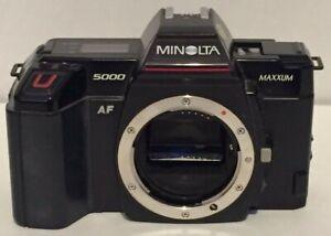 Vtg Minolta Maxxum 5000 AF 35mm SLR Camera Made in Japan - Body Only - Untested