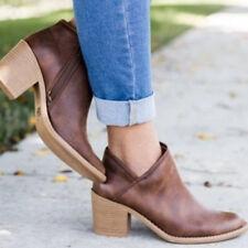 Womens Ladies Ankle Boots Low Heel Mid Block Booties Zipper Slip On Pumps Shoes