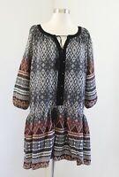 Entro Boutique Black Geometric Print Drop Waist Tunic Shift Dress Size S Boho