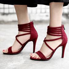 Gladiator Sandals Open Toe Suede Stiletto High Heels Zipper Shoes US8=EU38 Red