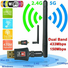 600Mbps Dual Band 2.4/5Ghz Wireless USB WiFi Network Adapter w/Antenna 802.11EE