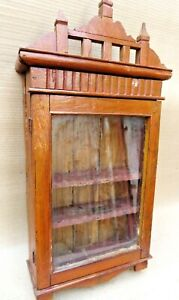 Vintage Wooden Cabinet Curio Display Single Glass Door  Showcase Crown distress