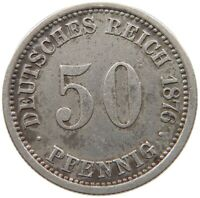 GERMANY EMPIRE 50 PFENNIG 1876 A #a33 531