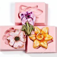 Floral Silicone Mold Set 3 flower molds for Fondant Candy Resin Clays Glass (209