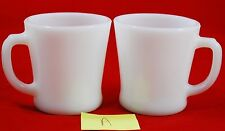 *Lot of 2* Fire King Coffee Cups Mugs Vintage White Milk Glass ANCHOR HOCKING