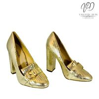 JustFab D'amber Women's Shoes Gold Penny Loafers Grade B Size 4 Uk