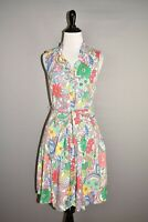 TALBOTS $129 Floral Paisley Ruffle Button Front A-line Dress Size 4P