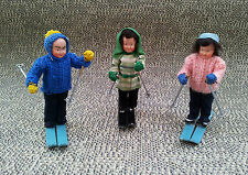 Antik 3 stück skifahrer miniaturen spielzeug ancien deko vintage old dekorativ