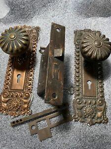 Antique Russel & Erwin Mortise Lock & Key Door Knobs Backplates Pat. Jan/29/1889