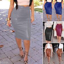 Fashion Women Leather Stretch High Waist Short Bodycon Mini Party Pencil Skirt