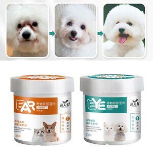 130pcs/box Pet Ear Cleaner Wipes, Eye Wipes for Dogs Cats Puppies, Cleaning Tear