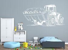 Wall Vinyl Decal Tractor Excavator Farm Work Machine Interior Decor z4706
