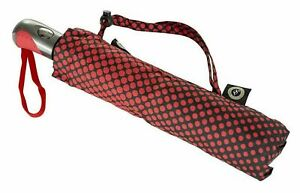 Compact Umbrella Wind Resistant Automatic Open & Travel Carry Strap - Black Red